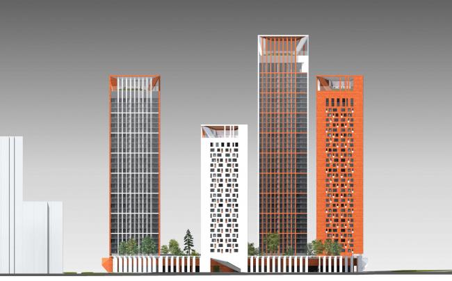 Концепция жилого комплекса на Рублевском шоссе. Фасад по Проектируемому проезду © «Сергей Скуратов ARCHITECTS»
