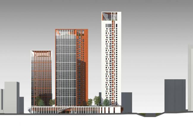 Концепция жилого комплекса на Рублевском шоссе. Фасад по Рублевскому шоссе © «Сергей Скуратов ARCHITECTS»