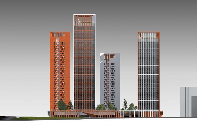 Концепция жилого комплекса на Рублевском шоссе. Фасад по Ярцевской улице © «Сергей Скуратов ARCHITECTS»