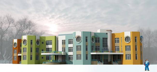 Вариант фасадного решения для проекта детсада, рассчитанного на 12 групп детей. Изображение с сайта dgp.mos.ru