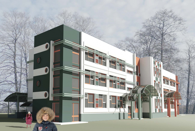 Вариант фасадного решения для проекта детсада, рассчитанного на 5 групп детей. Изображение с сайта dgp.mos.ru