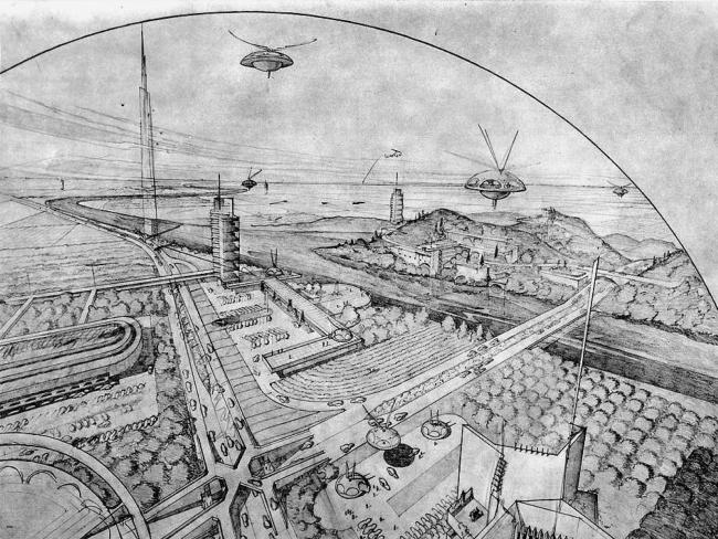 «Город широких горизонтов» (Broadacre City) Фрэнка Ллойда Райта. Изображение из книги «Городской конструктор: Идеи и города»