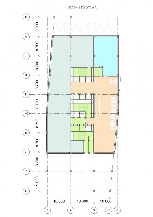 Офисный центр на Нахимовском проспекте. План 1 этажа © ADM