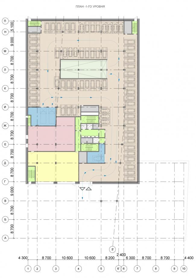 Офисный центр на Нахимовском проспекте. План -1 этажа © ADM