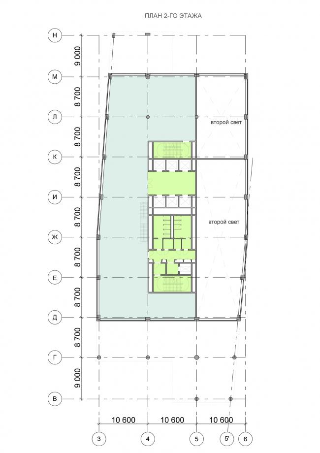 Офисный центр на Нахимовском проспекте. План 2 этажа © ADM