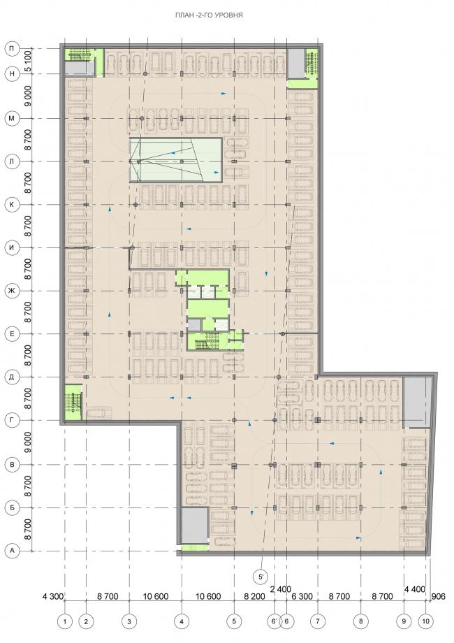 Офисный центр на Нахимовском проспекте. План -2 этажа © ADM