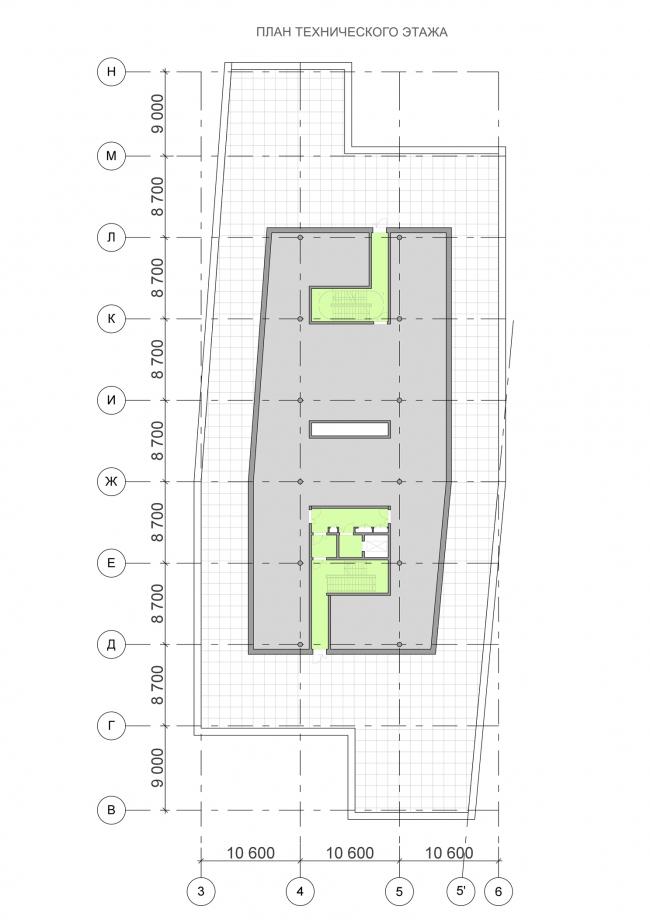 Офисный центр на Нахимовском проспекте. План технического этажа © ADM
