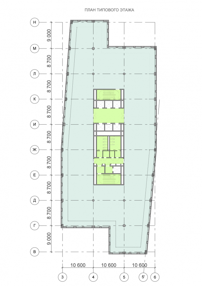 Офисный центр на Нахимовском проспекте. План типового этажа © ADM