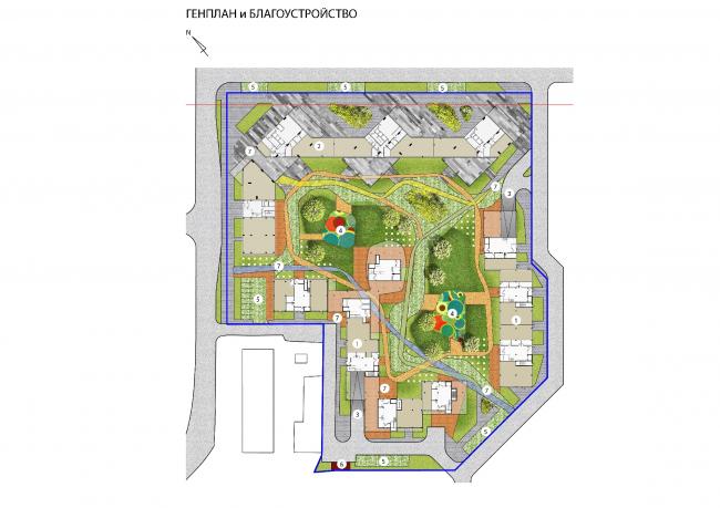 Концепция жилого комплекса на Рублевском шоссе. Генплан и благоустройство © АБ «Атриум»