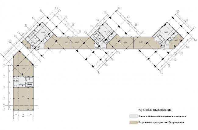 Концепция жилого комплекса на Рублевском шоссе. Первый этаж. Корпус 2 © АБ «Атриум»