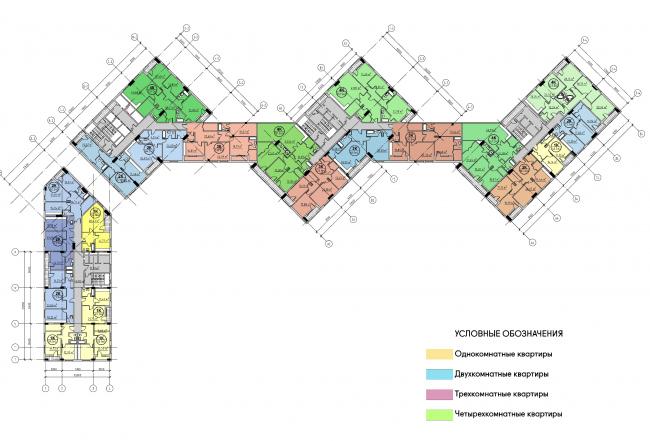 Концепция жилого комплекса на Рублевском шоссе. Четвертый этаж. Корпус 2 © АБ «Атриум»