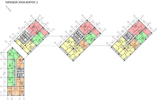 Концепция жилого комплекса на Рублевском шоссе. Типовой этаж. Корпус 2 © АБ «Атриум»