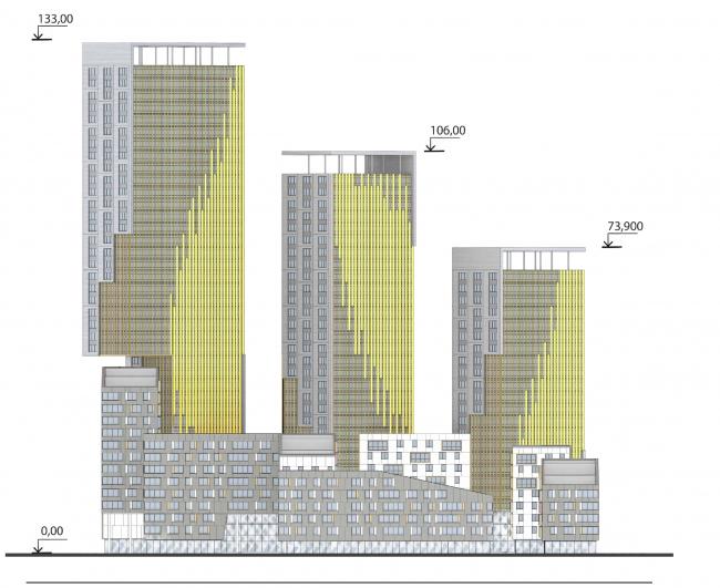 Концепция жилого комплекса на Рублевском шоссе. Юго-западный фасад © АБ «Атриум»