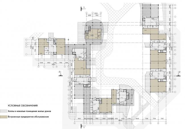 Концепция жилого комплекса на Рублевском шоссе. Первый этаж. Корпус 1 © АБ «Атриум»