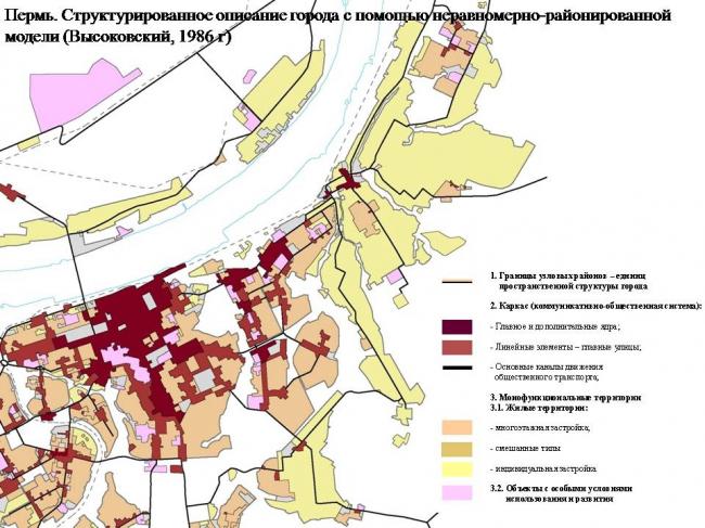 Структурированное описание города Перми с помощью неравномерно-районированной модели. А. Высоковский, 1986 год. Из презентации А. Высоковского