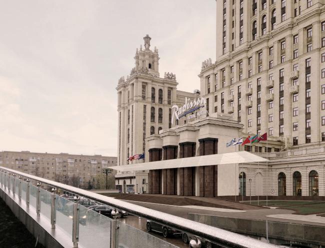 Проект архитектурного решения входной группы гостиницы «Украина». ABD architects (Россия) при участии Werner Sobek Moskwa (Россия). © КБ «Стрелка»