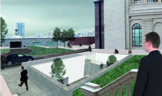 Проект архитектурного решения входной группы гостиницы «Украина». MC2 (Италия). © КБ «Стрелка»