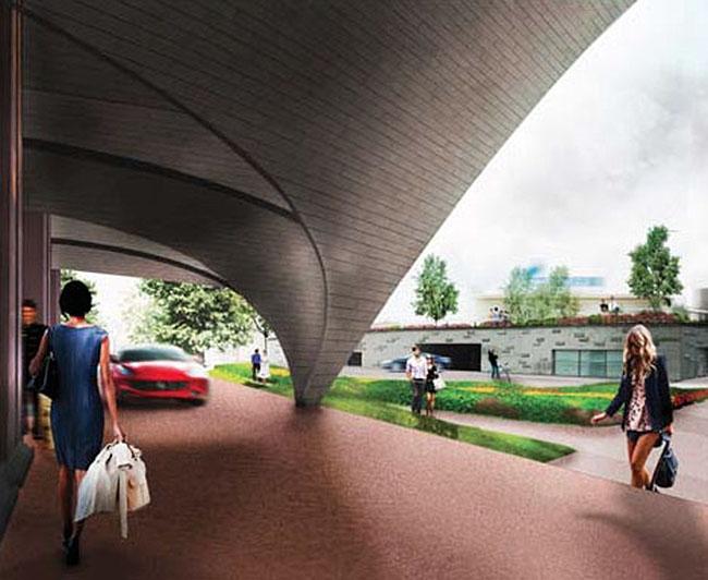 Проект архитектурного решения входной группы гостиницы «Украина». WORKac (США) при участии Thornton Tomasetti. © КБ «Стрелка»