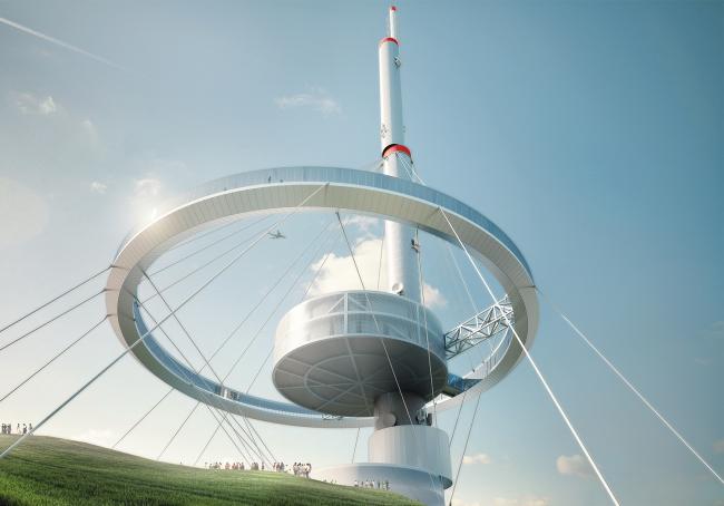 Третье место в конкурсе на проект Телебашни в Сантьяго. Architects of Invention + Archiplan S.A © Architects of Invention