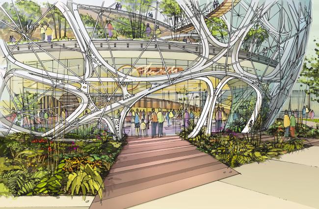 Экоцентр Biodome в штаб-квартире компании Amazon © NBBJ