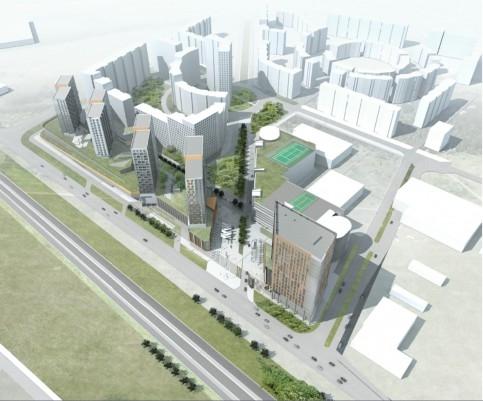 Проект Urban Group, «Город Солнца» в Химках. Ряд офисных зданий. Иллюстрация: стройкомплекс Подмосковья