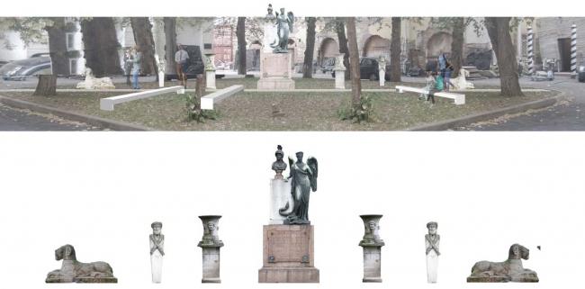 Концепция создания скульптурного дворика. Проект бюро «Народный архитектор» © ГНИМА им А.В.Щусева
