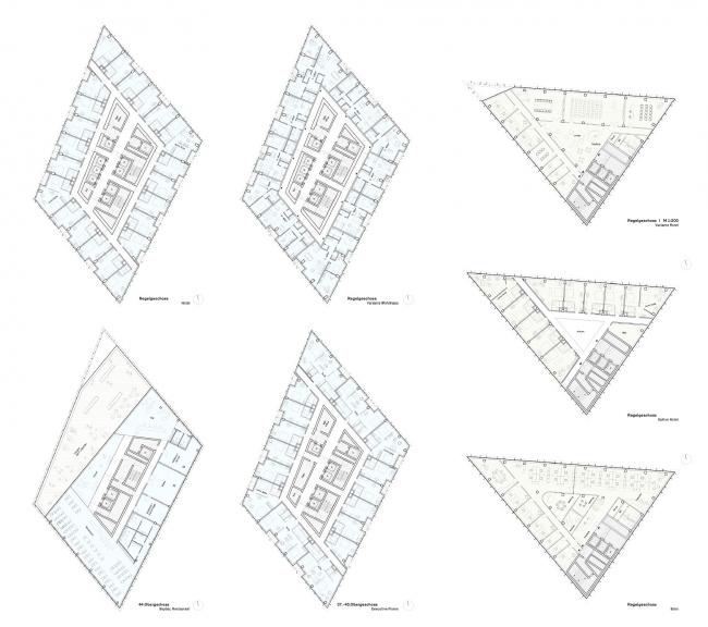 Гостиница Estrel Tower. Планы верхних этажей © Barkow Leibinger