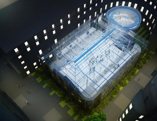 Ночной вид нового культурного центра Академии. АБ «Четвертое измерение»