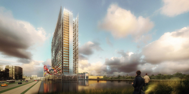 Вид здания Европейского патентного ведомства с окружающим водоемом, который  создадут в 2020 © Ateliers Jean Nouvel