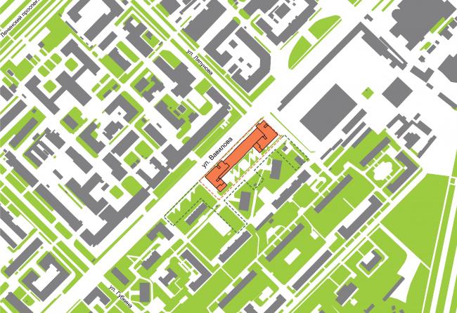 Многофункциональный жилой комплекс на улице Вавилова. Ситуация. Проект, 2013 © Архитектурная мастерская «Группа АБВ»