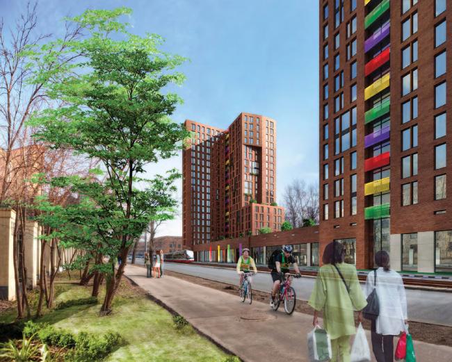 Многофункциональный жилой комплекс на улице Вавилова. Общий вид. Проект, 2013 © Архитектурная мастерская «Группа АБВ»