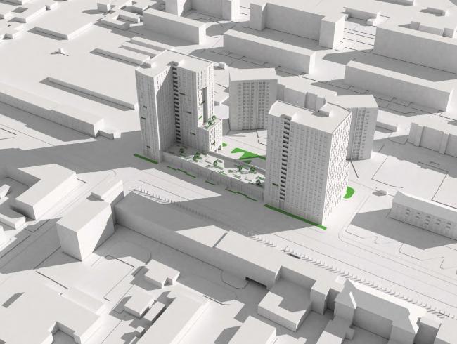 Многофункциональный жилой комплекс на улице Вавилова. Модель. Проект, 2013 © Архитектурная мастерская «Группа АБВ»