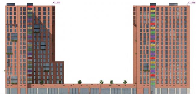 Многофункциональный жилой комплекс на улице Вавилова. Фасад. Проект, 2013 ©  Архитектурная мастерская «Группа АБВ»