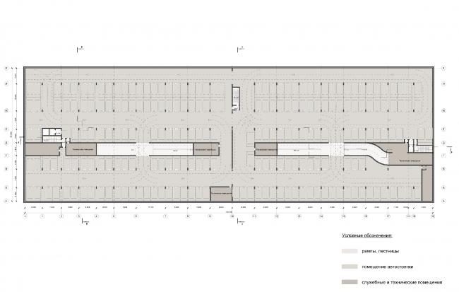 Многофункциональный жилой комплекс на улице Вавилова. Подземный паркинг. Проект, 2013 © Архитектурная мастерская «Группа АБВ»