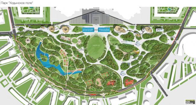 Концепция парка «Ходынское поле» © Студия Ландшафтной Архитектуры Максима Коцюбы