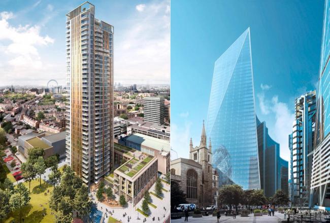 Две новые лондонские башни. Слева - строящийся сейчас 37-этажный жилой дом One The Elephant. Архитекторы Squire and Partners. Справа - офисное 38-этажное здание 52 Lime Street. Архитекторы KPF. Проект утвержден.