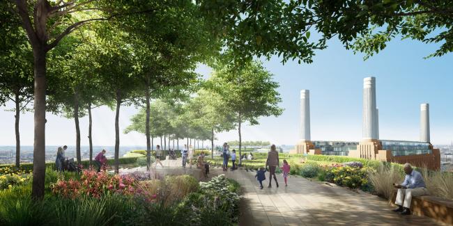 Реконструкция электростанции Баттерси – 3-я очередь.Сад на крыше The Skyline Нормана Фостера © Battersea Project Land Company Limited