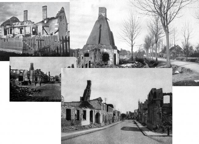 Военные разрушения 1914 года. Изображение предоставлено Дмитрием Сухиным