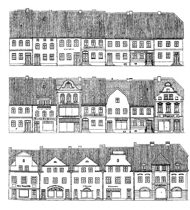 Фасады рыночной площади: начало XIX века, конец XIX века, после восстановления. Изображение предоставлено Дмитрием Сухиным