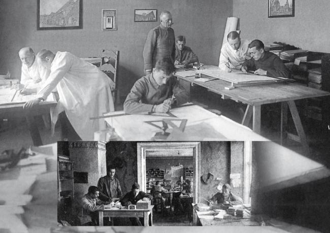 Проектное бюро в Гумбиннене, стоят: слева Шарун, справа Крухен, сидят в униформе – военнопленные. Изображение предоставлено Дмитрием Сухиным