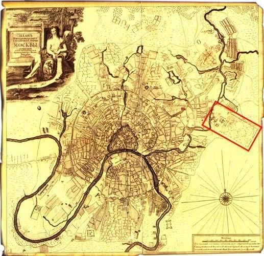 План Москвы 1739 г. с местоположением Лефортовского дворцово-паркового комплекса. Изображение предоставлено Dutch culture with Russia.