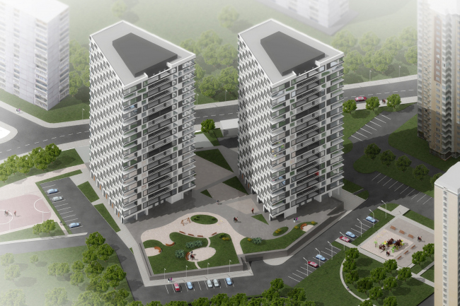 """Architectural and planning solution of Buildings 5 and 6 of """"Nagornaya"""" residential complex"""