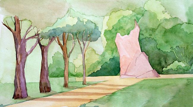 Кенотаф инстербургской поэтессы Фриды Юнг в парке ее имени рядом с «Пестрым рядом» (бывшее кладбище, где в советское время все могилы, включая захоронение Юнг, были уничтожены). Проект Варвары Базуевой © Варвара Базуева