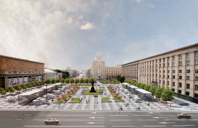 С павильонами. Проект реконструкции Триумфальной площади Buromoscow (при участии Arteza)