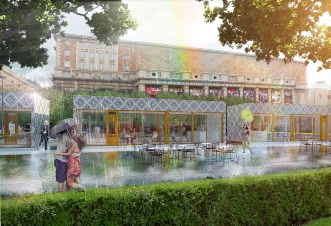 Вариант решения павильонов. Проект реконструкции Триумфальной площади Buromoscow (при участии Arteza)