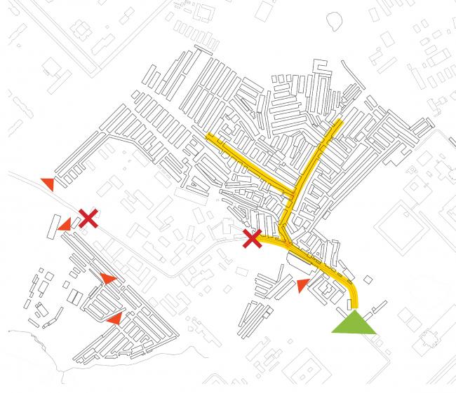 Жизнь (услуги, магазины, кафе) сконцентрирована вдоль «главной улицы», следующей от основного входа вглубь района.Из презентации Е.Мазиной