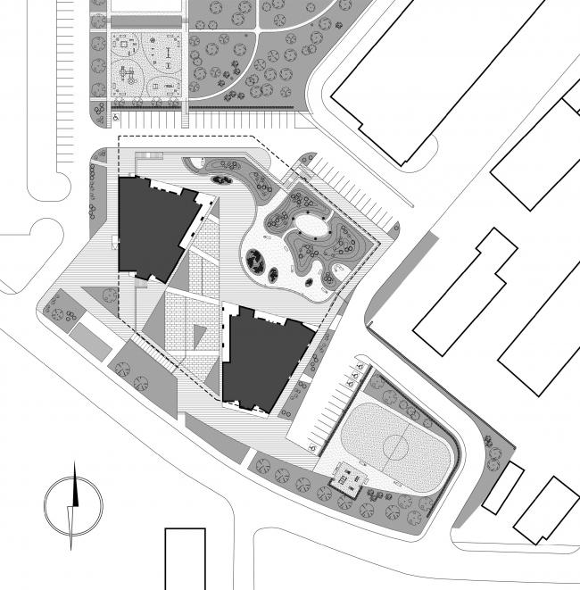 Архитектурно-градостроительное решение корпусов номер 5 и 6 жилого комплекса «Нагорный» © «Сергей Киселев и Партнеры»