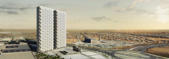 Штаб-квартира 2 медиа-компаний на Ближнем Востоке. Вид с закрытым восточным фасадом © Luxigon
