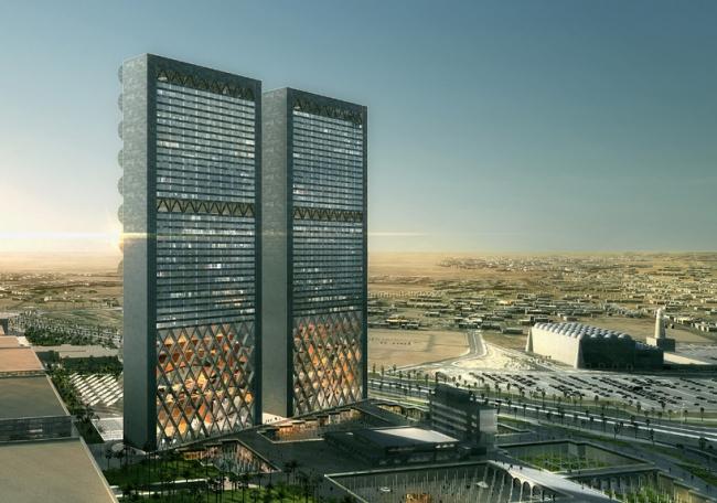 Штаб-квартира 2 медиа-компаний на Ближнем Востоке. Вид с открытым восточным фасадом © Luxigon
