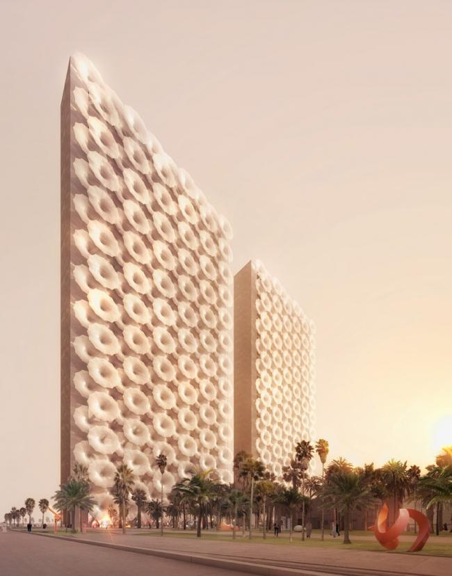 Штаб-квартира 2 медиа-компаний на Ближнем Востоке. Вид с закрытым фасадом © Luxigon